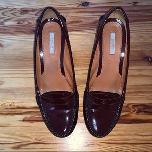 Geox burgundy patent leather wedge shoes